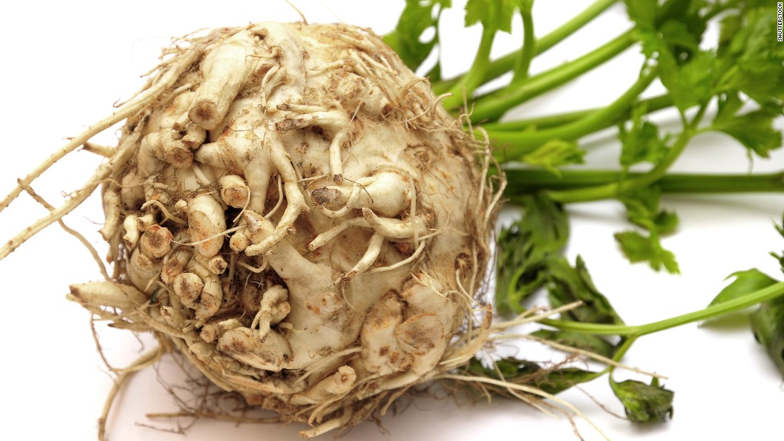 "No, don't toss it out. This unappetizing  root is an excellent <a href=""http://www.fruitsandveggiesmorematters.org/celeriac-nutrition-selection-storage"" target=""_blank"">source</a> of vitamins C and K, and has no fat or cholesterol. It also is a good way to get some manganese, potassium, phosphorous and — what else — fiber into your diet.  Make roasted celery root ""chips,"" grate it raw into a salad, or do the old-fashioned mash. It pairs well with apples or potatoes,too. The nutty flavor of cooked celery root also complements fish dishes."
