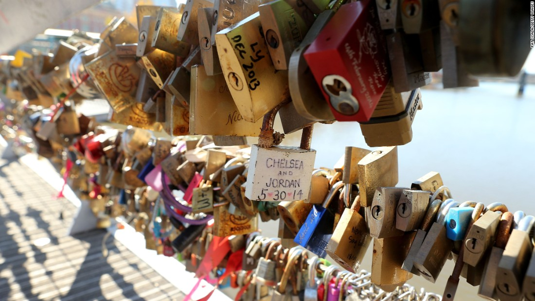 "MAY 18 -- MELBOURNE, AUSTRALIA: The padlocks now seen on bridges around the world to commemorate a couple's love, has come to an end in Australia's second largest city. The council plan to remove 20,000 ""lover's locks"" because their weight is affecting the safety of Southgate footbridge."