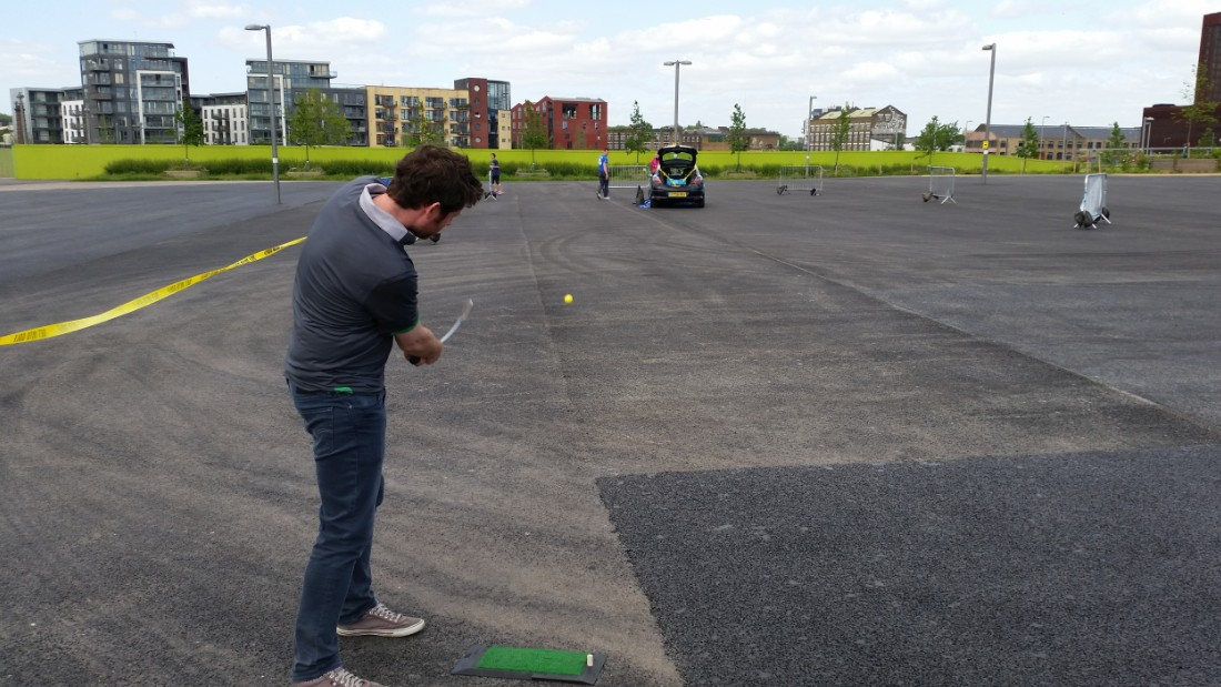 The European Urban Golf Championship first took place in 2013, utilizing the city's landscape to provide testing conditions. At the 2015 edition in London, players had to chip the ball into the trunk of a car, scoring three-under par for the trunk, two under for the roof and one under for anywhere else on the vehicle.