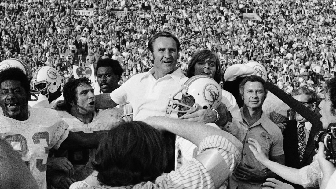 The Miami Dolphins, coached by Don Shula, win Super Bowl VII in January 1973 and become the only NFL team in history to win a championship with an undefeated record.