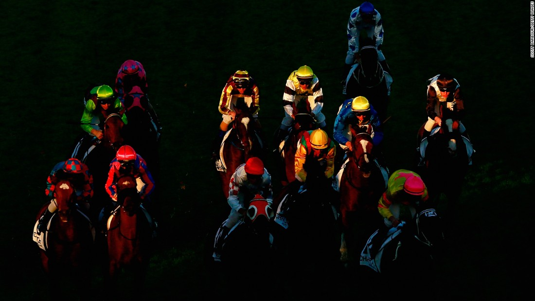 Horses bunch together as they race Saturday, May 16, at Caulfield Racecourse in Melbourne.