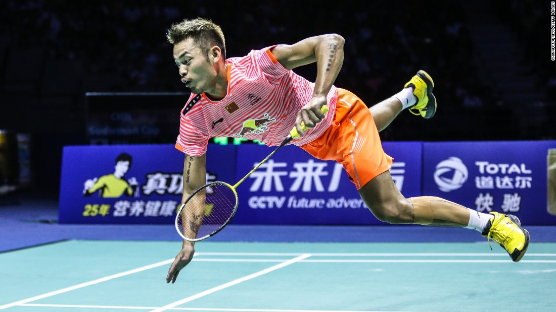 Badminton star Lin Dan celebrates after he defeated Japan's Takuma Ueda to clinch the Sudirman Cup for China on Sunday, May 17. The team competition was held in Dongguan, China.