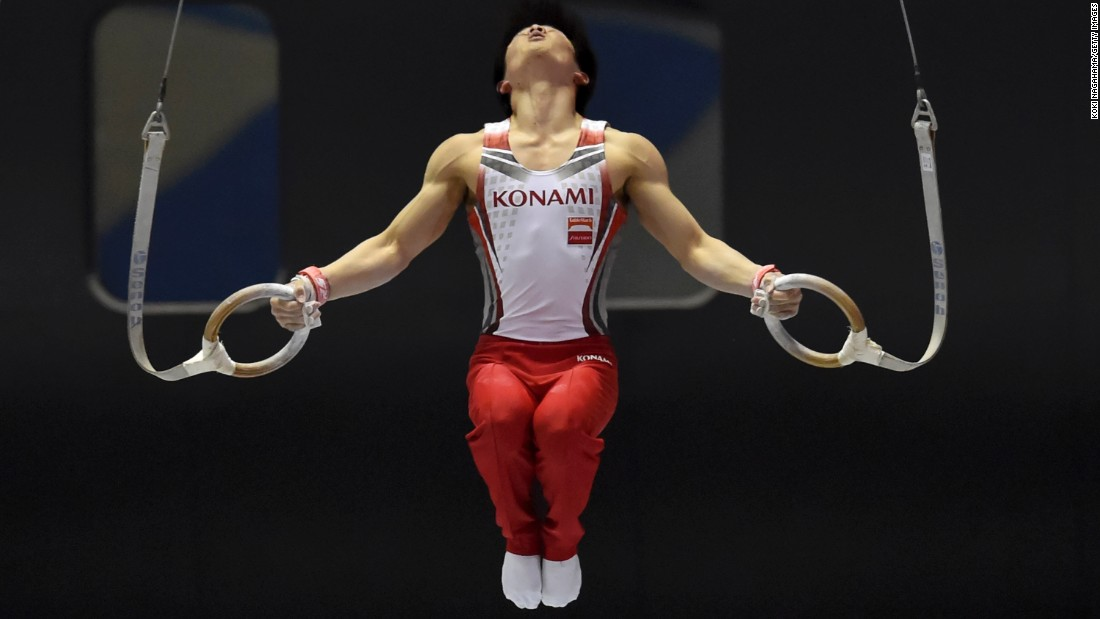 "Japanese gymnast Kohei Uchimura competes on the rings during the NHK Cup event Sunday, May 17, in Tokyo. Uchimura, who won Olympic gold in the 2012 all-around, <a href=""http://www.japantimes.co.jp/sports/2015/05/17/more-sports/gymnastics/uchimura-sugihara-claim-titles-nhk-cup/#.VVpK0Te1qMU"" target=""_blank"">won the NHK Cup</a> for the seventh straight time."