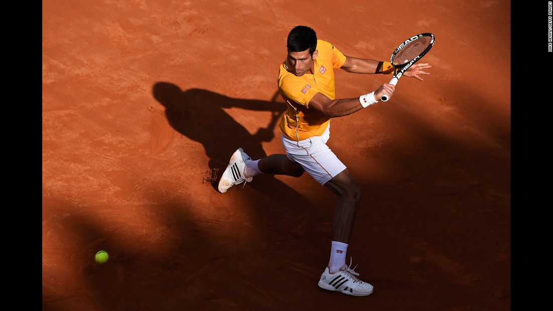Novak Djokovic prepares to hit a backhand during the final of the Italian Open on Sunday, May 17. Djokovic, the top-ranked player in the world, defeated Roger Federer in straight sets.