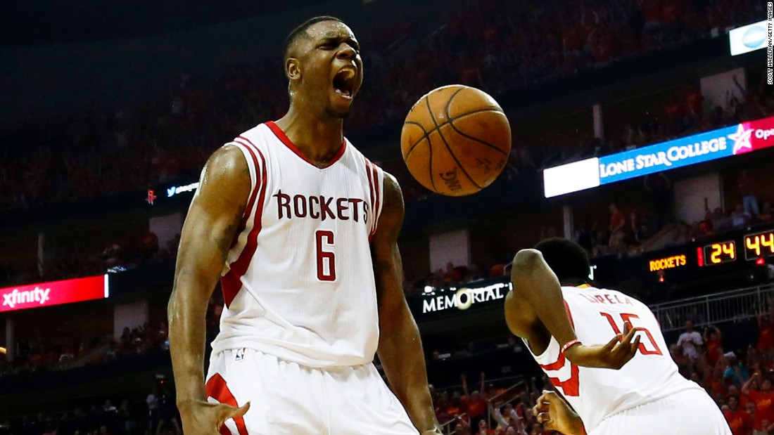 Houston's Terrence Jones reacts after dunking against the Los Angeles Clippers during Game 7 of their NBA playoff series on Sunday, May 17. Jones and the Rockets overcame a 3-1 series deficit to advance to the Western Conference Finals.