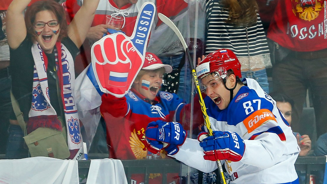 Russia's Vadim Shipachyov celebrates after scoring a goal against the United States during the semifinals of the Ice Hockey World Championship on Saturday, May 16.