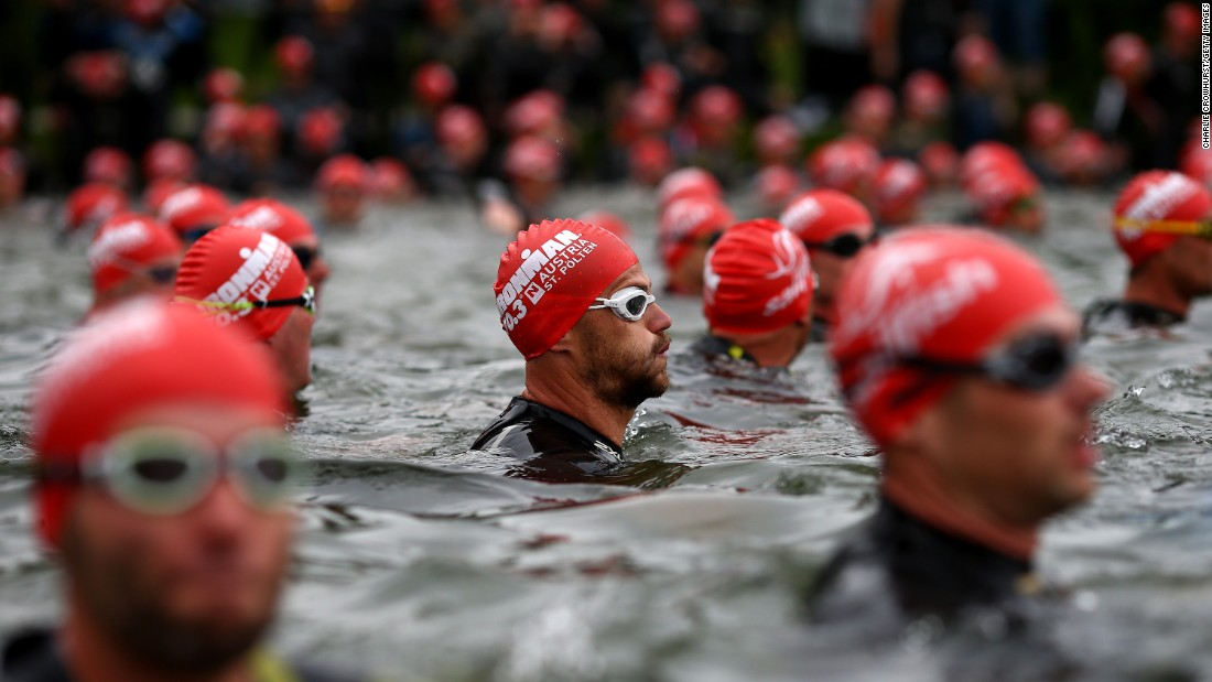Participants await the start of the Half Ironman event held Sunday, May 17, in St. Polten, Austria.