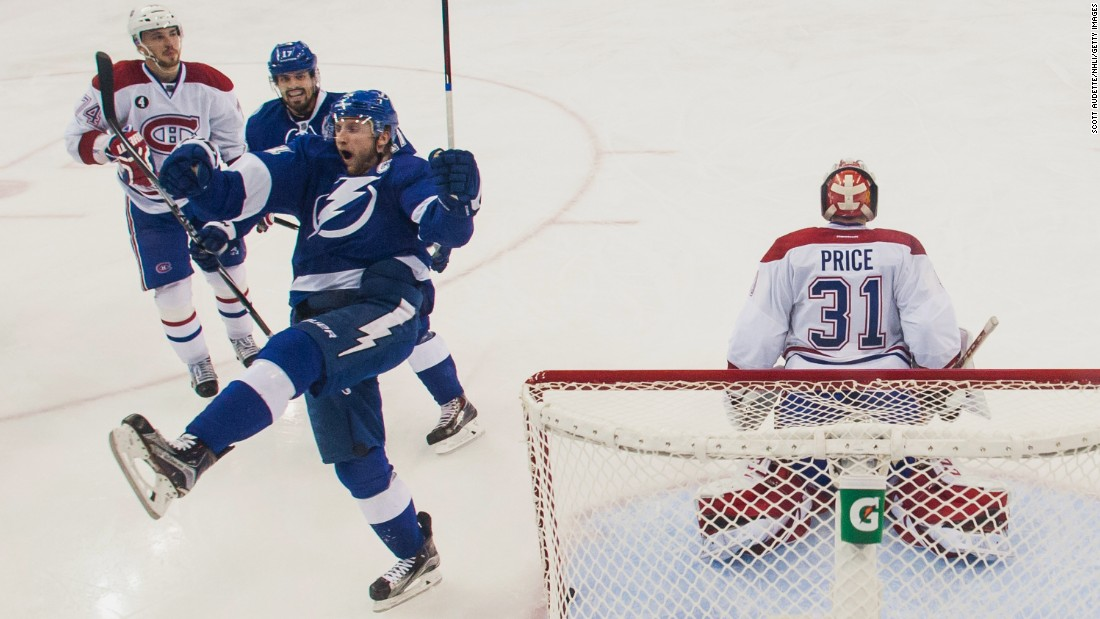 Tampa Bay's Steven Stamkos celebrates after scoring against Montreal's Carey Price in Game 6 of the NHL Eastern Conference semifinals on Tuesday, May 12. Tampa Bay won 4-1 to advance to the next round of the playoffs.