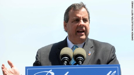New Jersey Gov. Chris Christie gives a speech on foreign policy at Prescott Park May 18, 2015 in Portsmouth, New Hampshire. Christie, a possible Republican presidential candidate, called for more warships and planes and laid out his vision for dealing with foreign enemies.