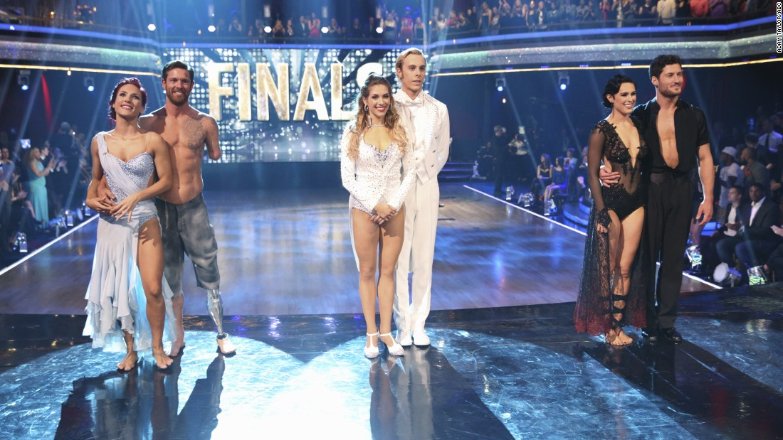 "Only three couples remained when the ""Dancing with the Stars"" finale aired on Tuesday night. From left to right: pro dancer Sharna Burgess and Noah Galloway;  Riker Lynch and pro dancer Allison Holker; and Rumer Willis and pro dancer Valentin Chmerkovskiy. Click through the gallery to find out who took home the trophy."