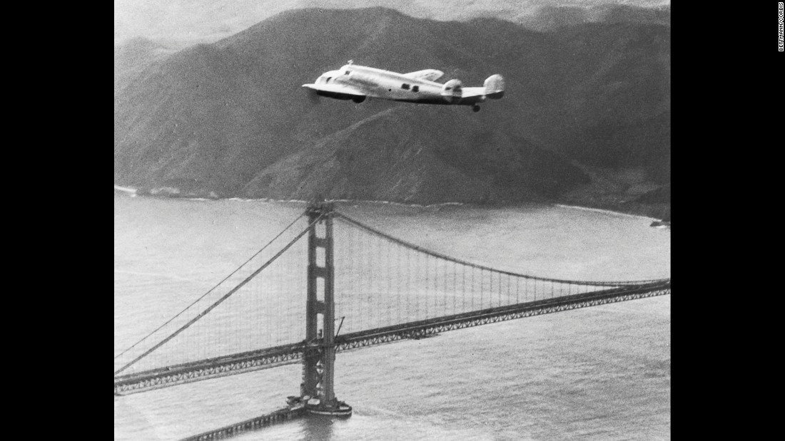 "Amelia Earhart's Lockheed Electra soars over the Golden Gate Bridge on March 19, 1937, during her first, aborted attempt at a round-the-world flight. Almost four months later, Earhart disappeared over the Pacific on her second attempt and was never seen again. <a href=""http://www.cnn.com/2015/05/21/travel/gallery/tbt-amelia-earhart-crosses-atlantic/index.html"" target=""_blank"">#tbt: Amelia Earhart crosses the Atlantic </a>"