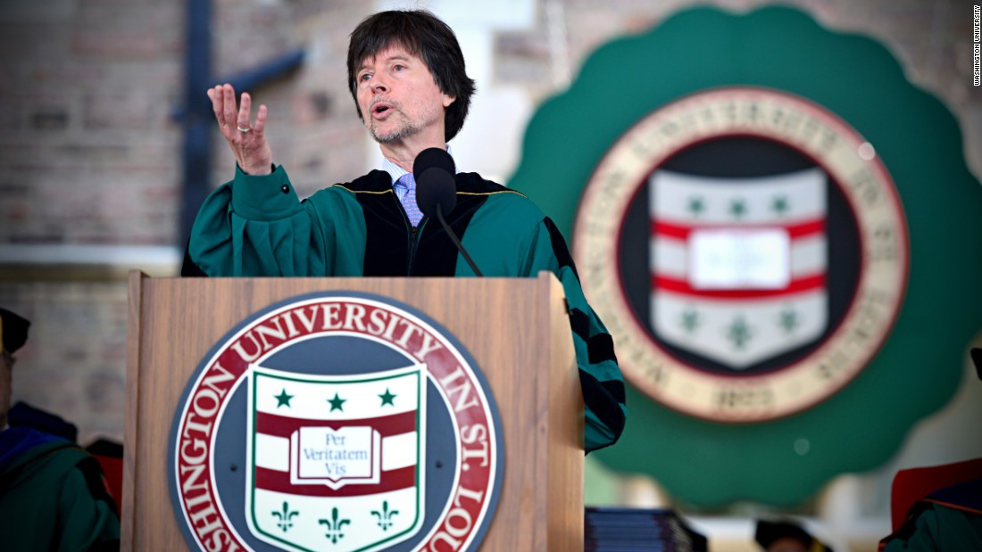 Filmmaker Ken Burns spoke at the commencement of Washington University in St. Louis on May 15.
