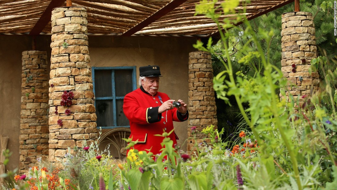 MAY 20 -- LONDON, ENGLAND: A Chelsea Pensioner takes a photo in the Sentebale 'Hope In Vunerability' Garden on the opening day the annual Chelsea Flower Show. The garden is inspired by the Mamohato Children's Center in Lesotho. Due to open later this year, the center will will provide support to children living with HIV.
