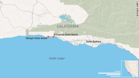 An oil spill contaminates Refugio and El Capitan State Beaches.