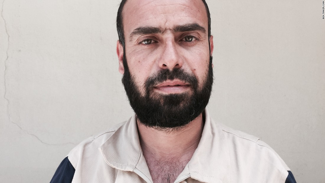 "Fadi Ibrahim, 36. Carpet factory employee. ""In my village, a man was stuck under the rubble. Three hours later, we got him out. This is someone that I know, walk by on the street and could've been dead."""