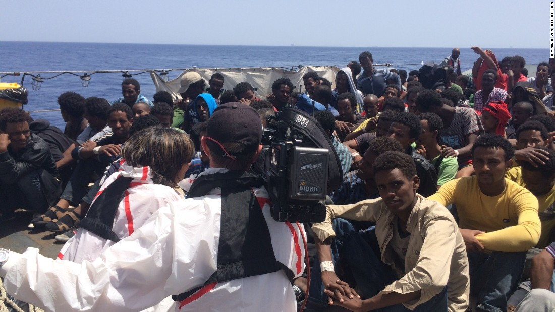 CNN Chief International Correspondent Christiane Amanpour was onboard an Italian Navy vessel Wednesday as it rescued hundreds of desperate African refugees and migrants trying to reach Europe via the Mediterranean Sea