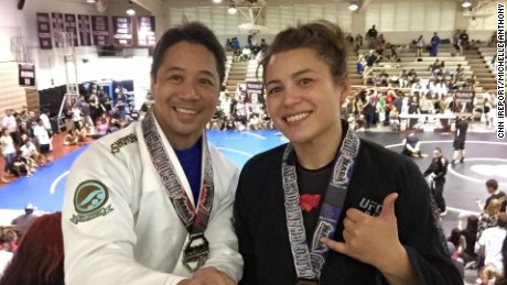 Jiujitsu Bronze medalist Michelle Anthony (right) with her boyfriend.