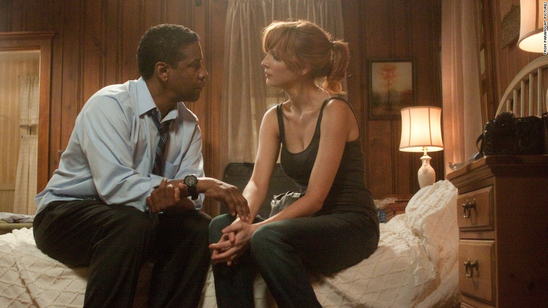"Denzel Washington was 57 when his alcoholic pilot romanced Kelly Reilly, 35, in ""Flight."""