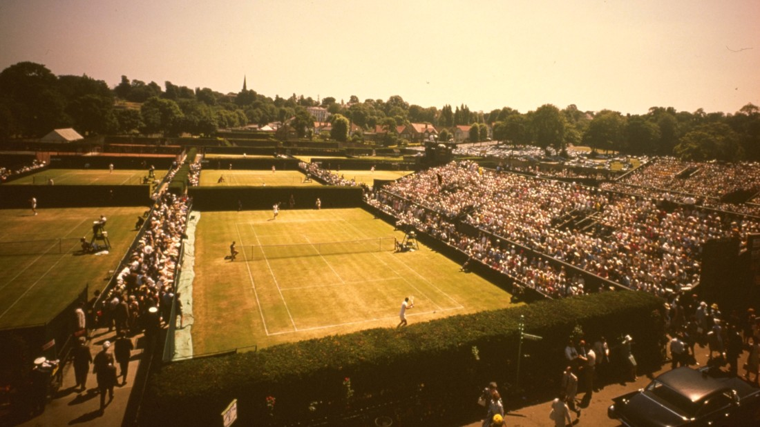 An aerial view of the outer courts at Wimbledon in the 1960s.