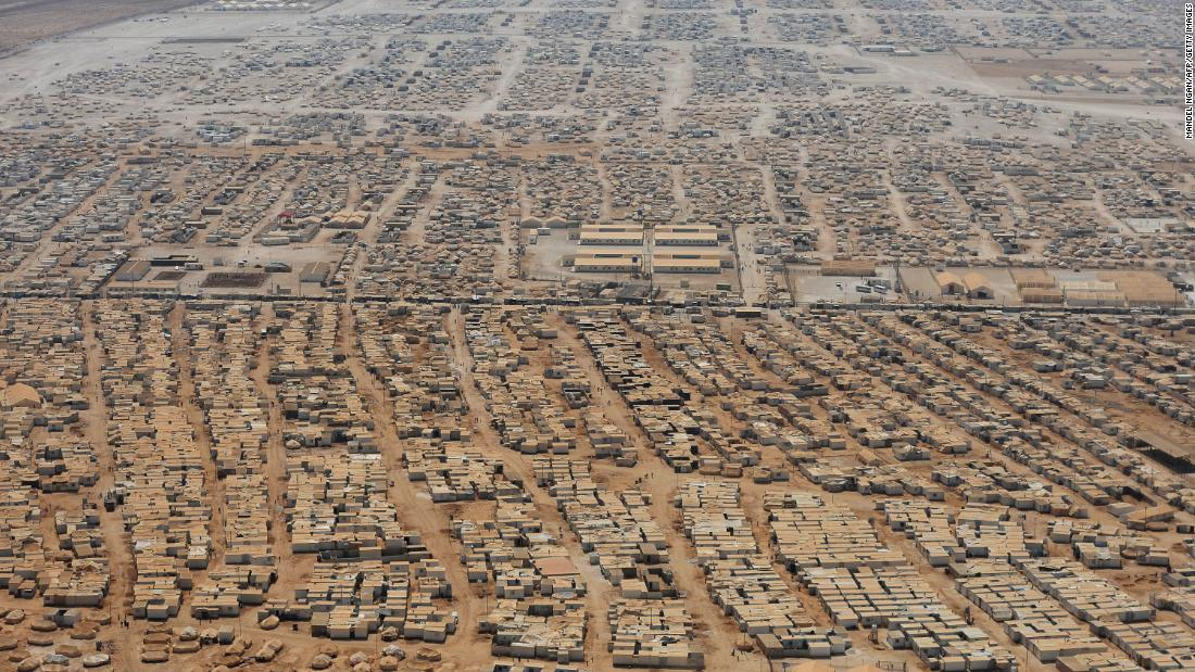 An aerial view shows the Zaatari refugee camp near the Jordanian city of Mafraq on July 18, 2013.