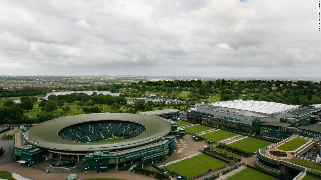 A general view of the Wimbledon complex shows the Centre Court (far right) with its roof closed.