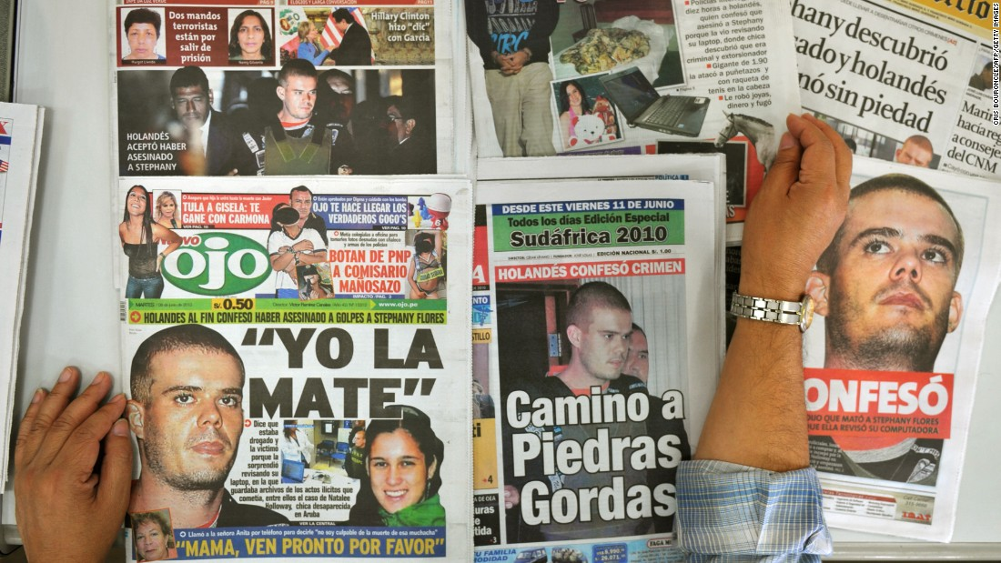 "Van der Sloot <a href=""http://www.cnn.com/2012/01/13/world/americas/peru-van-der-sloot-sentence/"">confessed to the murder</a> of Stephany Flores. He is <a href=""http://www.cnn.com/2014/03/10/world/americas/peru-van-der-sloot-extradition/"">expected to be extradited</a> to the U.S. after he serves his 28-year murder sentence. In the United States, he's been indicted on federal charges of extortion and wire fraud."