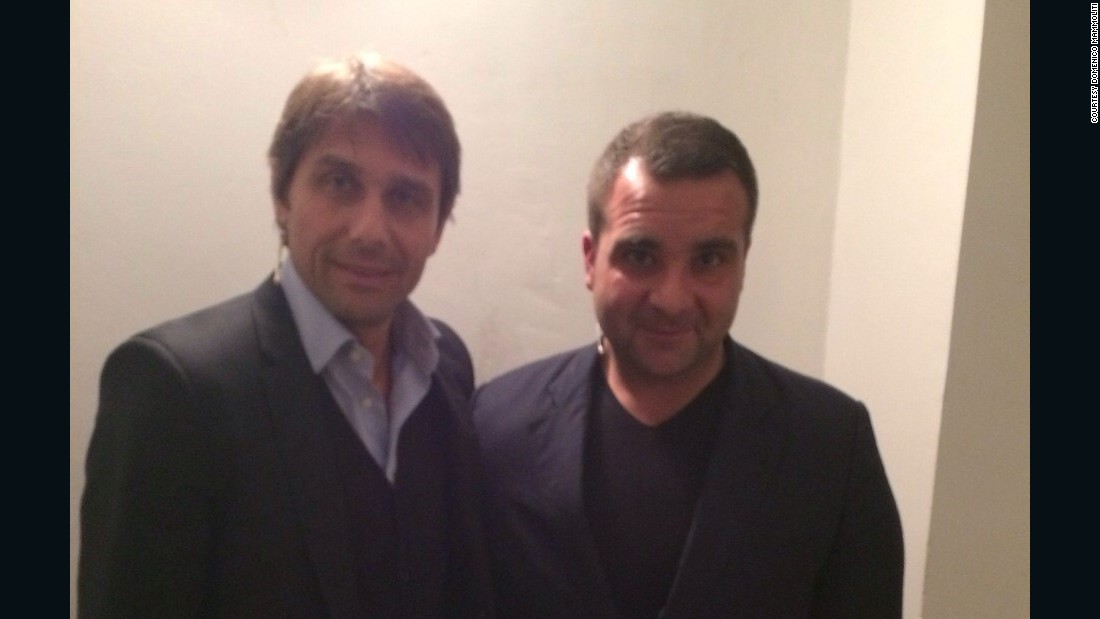 Koa Bosco coach Domenico Mammoliti (right) poses with Antonio Conte, manager of the Italian national football team.