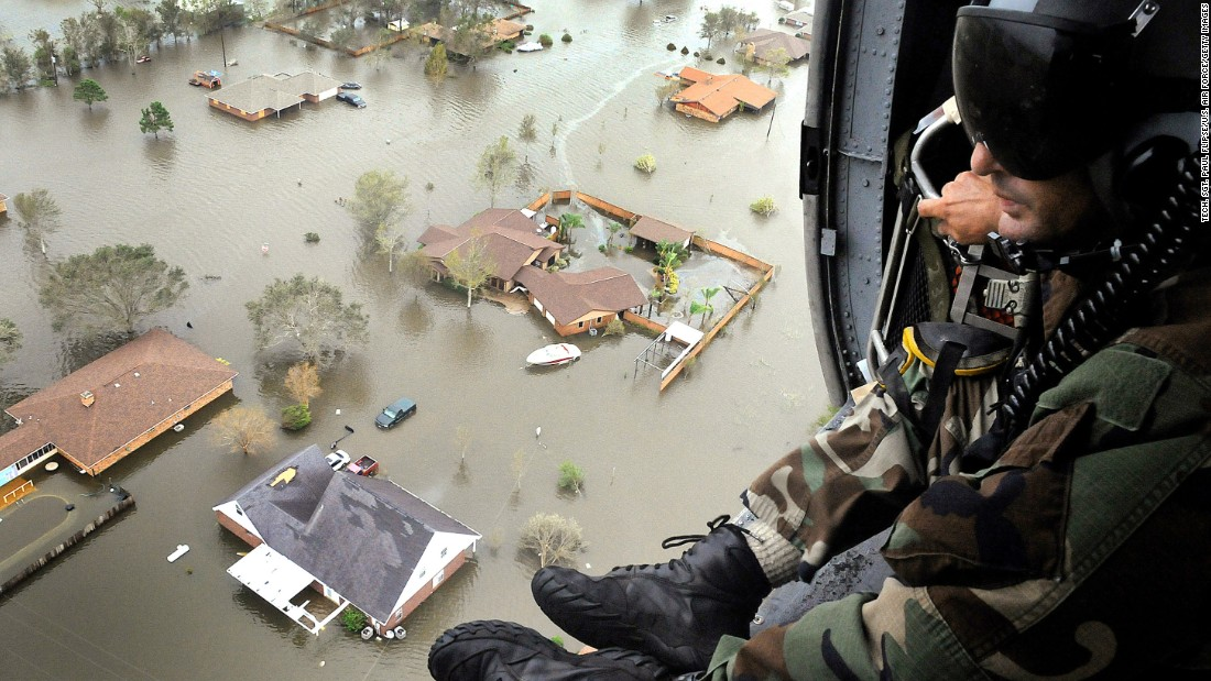 <strong>Ike, 2008</strong>: After killing scores in the Caribbean, Ike turned to Texas, sending storm surges that leveled homes on Galveston Island. It's remnants did extensive damage as far north as Ohio, where 2.6 million people lost power. Here, an Air Force Reserve pararescueman scans the ravaged Texas landscape shortly after Ike.