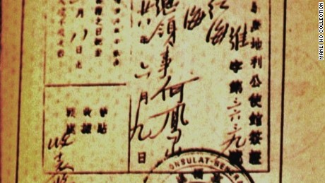 A Shanghai visa signed by Dr. Ho Feng Shan with a serial number of 3639.