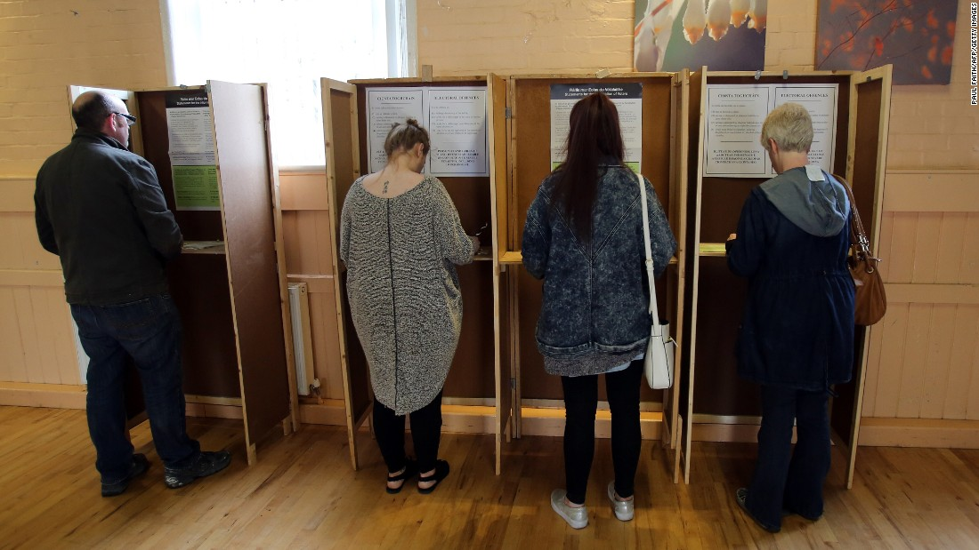 Voters cast their ballots on May 22 in the Drumcondra area of north Dublin.