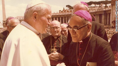 Archbishop Oscar Romero with Pope John Paul II in an undated photo