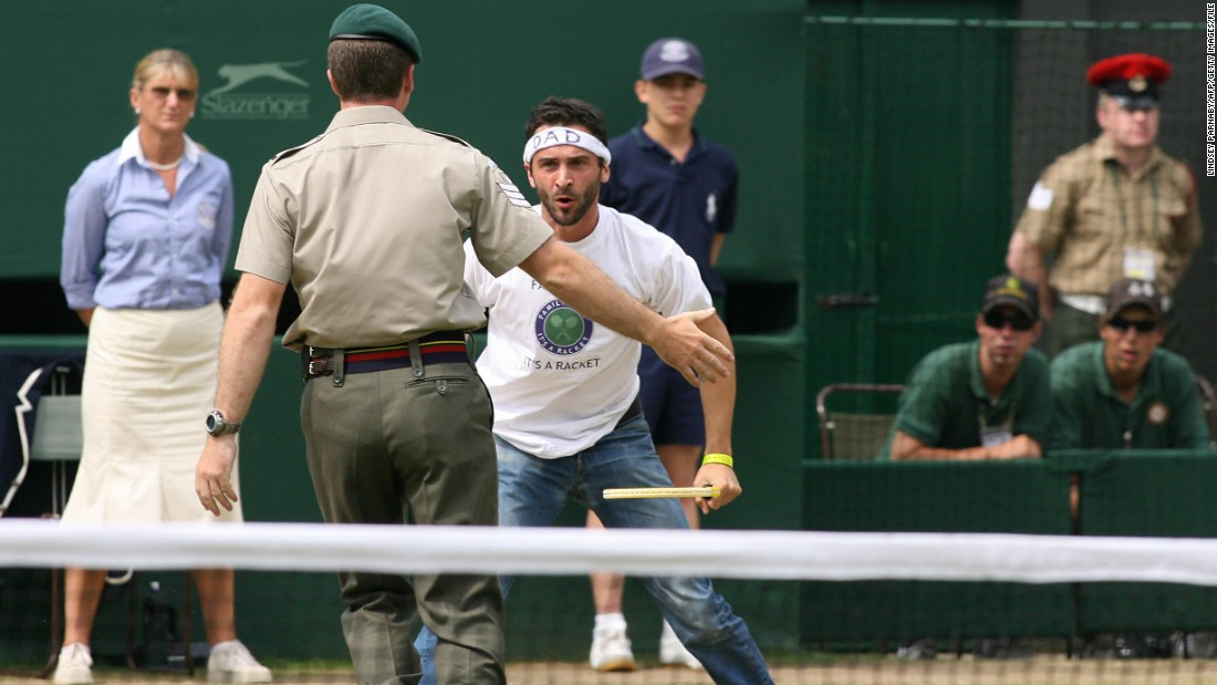 At Wimbledon in 2006, Federer's center-court match against Croatia's Mario Ancic was interrupted by a protester.