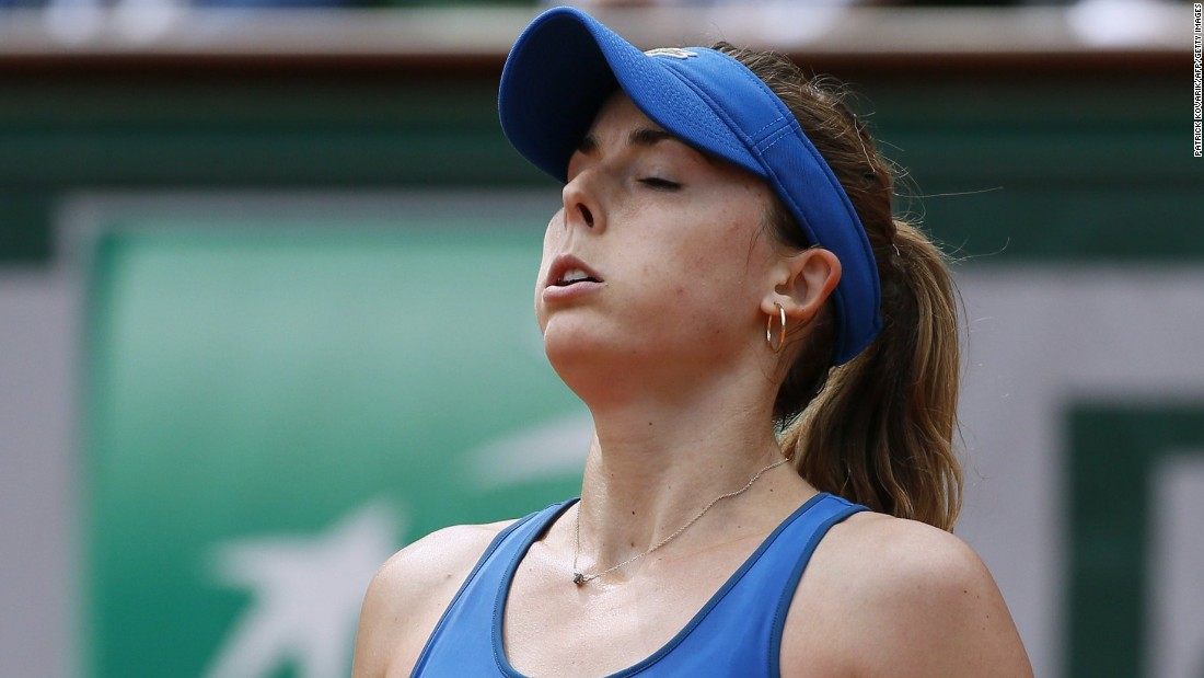 Don't let that expression fool you. Alize Cornet won her match against Roberta Vinci. Cornet, who owns winning streaks over Serena Williams and Simona Halep, is bidding to become the first French winner at Roland Garros since 2000.