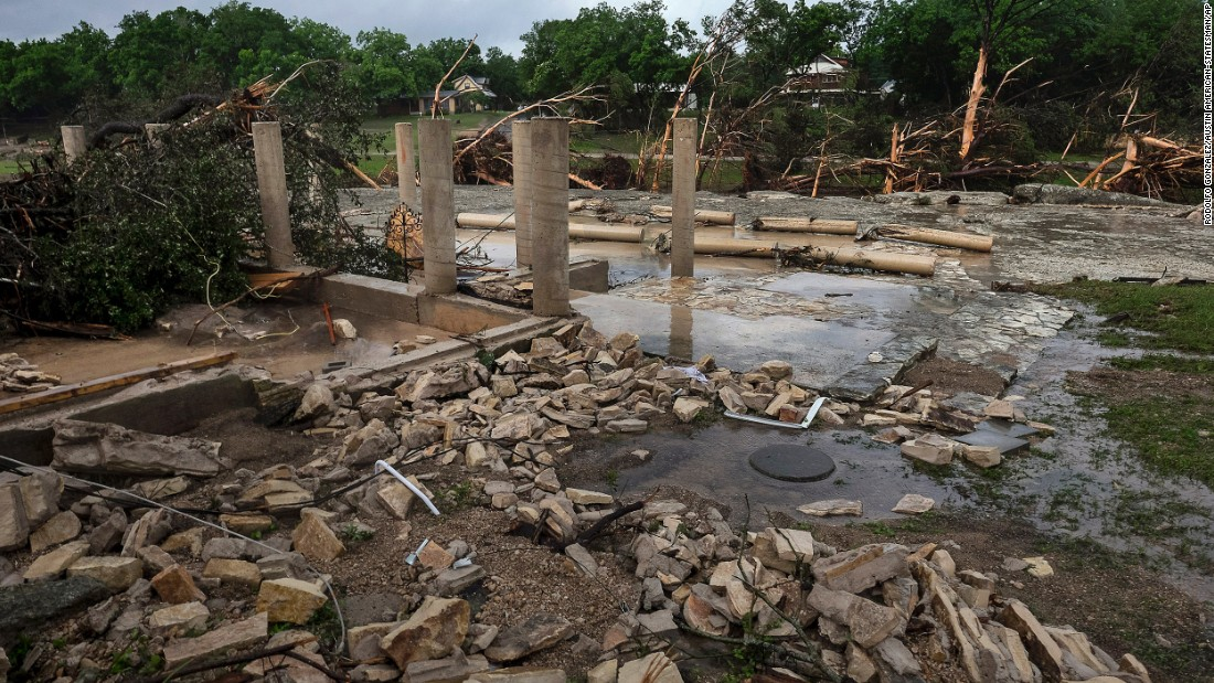 The cement stilts of a family's home in Wimberley are all that remain on Monday, May 25. The home was swept away by floodwaters a day earlier.