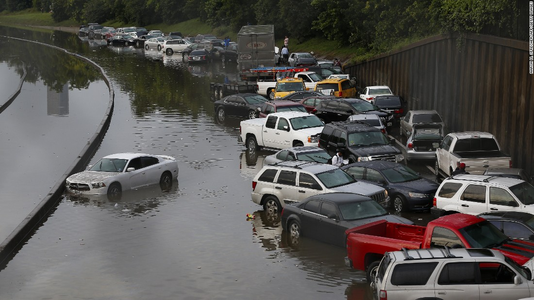 Vehicles in Houston are stranded on Interstate 45 on May 26.