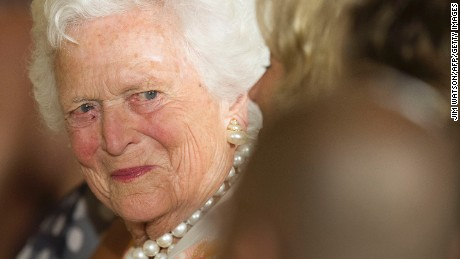 Former first lady Barbara Bush attends a White House ceremony to recognize the Points of Light volunteer program in Washington, DC, July 15, 2013. AFP PHOTO/JIM  WATSON