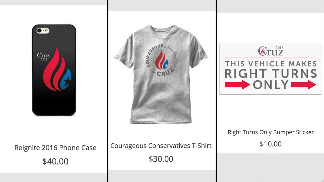 "Ted Cruz's merchandise features a car bumper sticker that says ""This vehicle makes right turns only."""