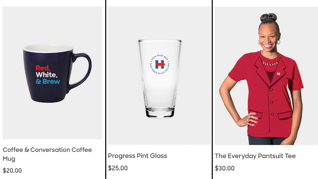 "Hillary Clinton's often known for her colorful pantsuits, making the ""Everyday Pantsuit"" T-shirt an original add to her merchandise for sale."