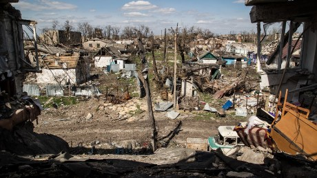 Previous destruction in the city of Donetsk is shown in this file photograph from earlier this year.