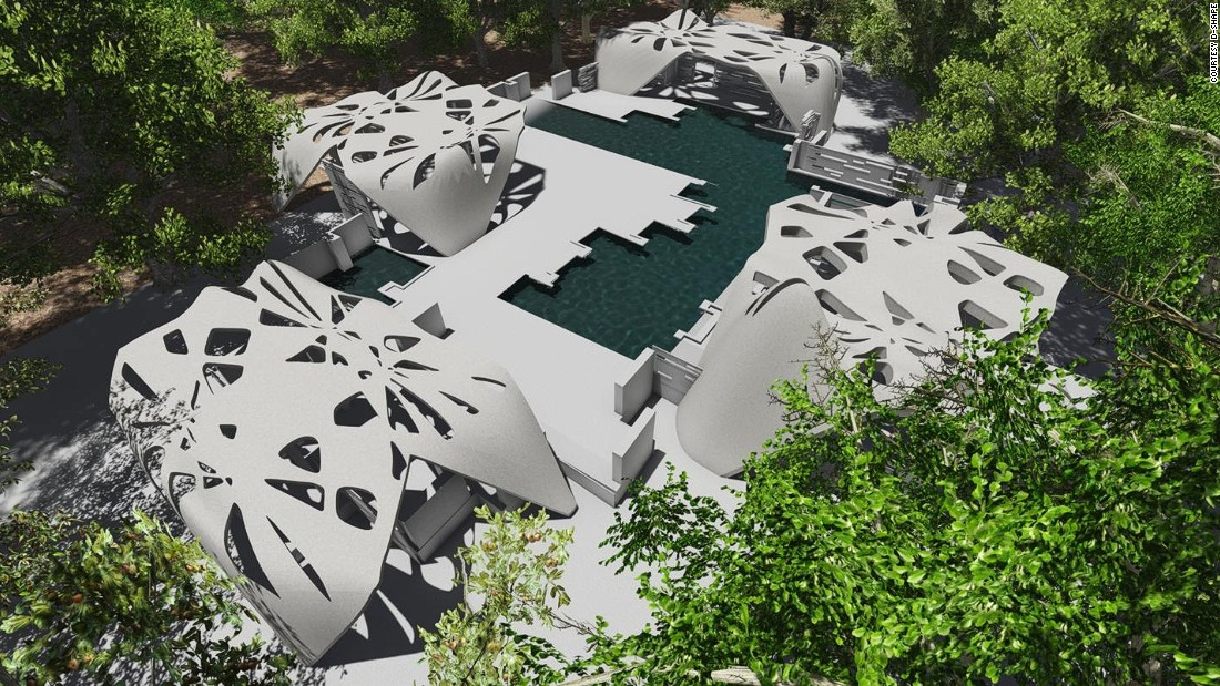 An artists rendering of a 3D-printed estate which is set to be built by architect Adam Kushner in conjunction with 3D-printing firm D-Shape.