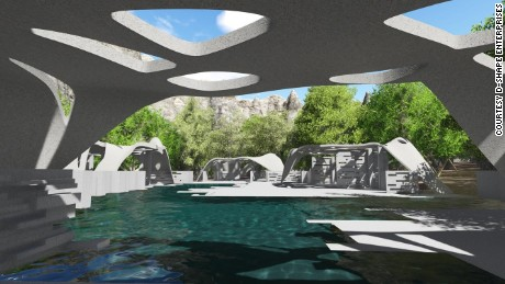 An artists rendering of the pool house which will be 3D printed by D-Shape.