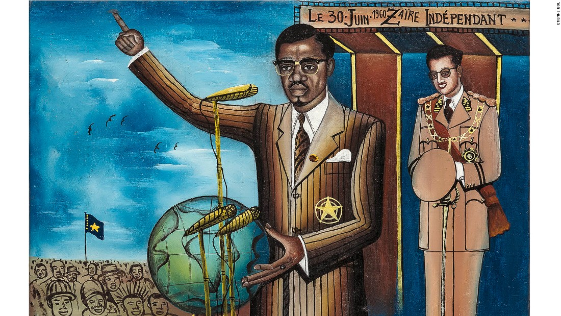 Independence was granted to Belgian Congo on 30 June 1960, and this painting shows the nation's first prime minister, Patrice Lumumba, delivering his famous speech in which he condemned the colonial period. <em><br />Le 30 juin 1960, Zaïre indépendant, Tshibumba Kanda-Matulu. 46 x 63.5cm, Acrylic on canvas.</em>