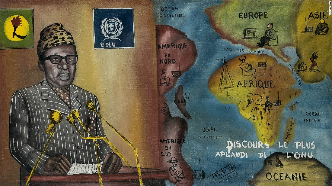Joseph Mobutu assumed power in 1965 and changed the name of the country to Zaire in 1971. The painting depicts his speech to the United Nations in 1973 in which he severed historic ties with Israel.<em>Discours le plus aplaudi de l'ONU, Tshibumba Kanda-Matulu. 42 x 75.5cm, Acrylic on canvas.</em>