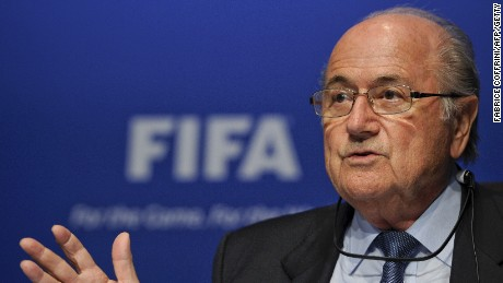 Caption:FIFA president Joseph Blatter gestures during a press conference following an executive meeting on March 30, 2012 at the World football governing body's headquarters in Zurich. AFP PHOTO / FABRICE COFFRINI (Photo credit should read FABRICE COFFRINI/AFP/GettyImages)