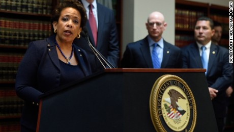 Attorney General Loretta E. Lynch announces charges against FIFA officials at a news conference on May 27, 2015 in New York.