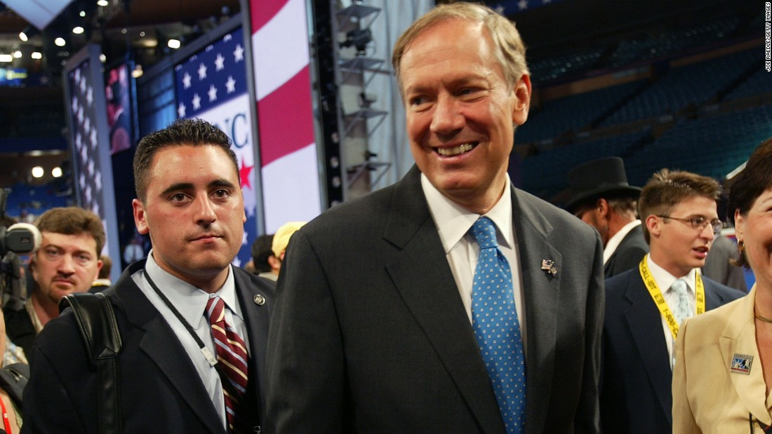 Pataki has made trips to New Hampshire since expressing interest in a presidential run in January. In this photo, Pataki walks on the floor of the 2004 Republican National Convention as it gets underway August 30, 2004 at Madison Square Garden in New York City.