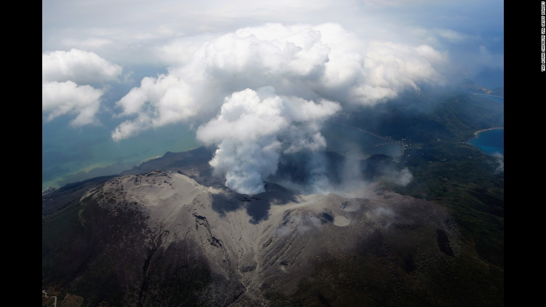 "Mount Shindake spews ash on Kuchinoerabu Island in Yakushima, Japan, in May 2015. The volcano <a href=""http://www.cnn.com/2015/05/29/asia/japan-volcano-evacuation/index.html"" target=""_blank"">erupted shortly before 10 a.m. local time</a>, the Japan Meteorological Agency said."