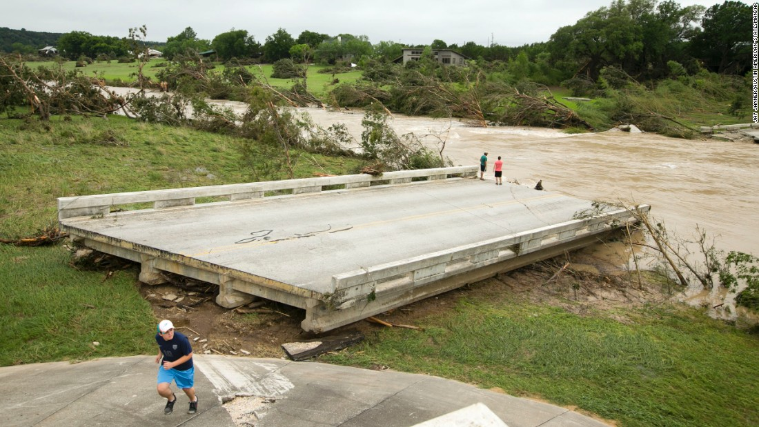 The Fischer Store Road Bridge near Wimberley was destroyed in flooding on May 24.