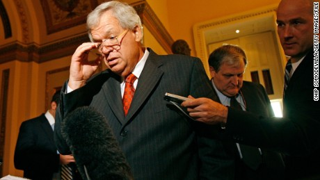WASHINGTON - NOVEMBER 15:  Former Speaker of the House Dennis Hastert (R-IL) speaks with reporters after delivering his farewell address to Congress November 15, 2007 in Washington, DC. He announced his resignation today and said he will leave office before the end of December. Hastert, 65, announced in August he would not seek reelection in 2008. Hastert was the longest-serving Republican speaker in U.S. history, and the first speaker since 1955 to remain in Congress after losing the speakership.  (Photo by Chip Somodevilla/Getty Images) *** Local Caption *** Dennis Hastert
