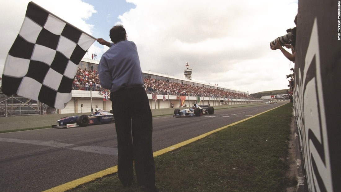 October 26, 1997: It's a date to remember for Villeneuve as he takes the checkered flag at the European Grand Prix in Jerez, Spain. His third-place finish was enough to win the drivers' championship with Williams in only his second season in F1.